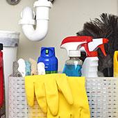 Nettoyage de salle de bain avec Windex